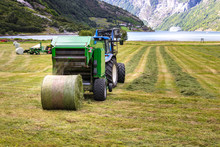 Small Tractor With Round Baler Unloading On A Field In Geiranger, Norway.