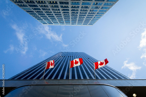 Three Canadian flags in front of a business building in Ottawa, Ontario, Canada. Ottawa is the capital city of Canada, and one of the main economic, political and business hubs of North America.
