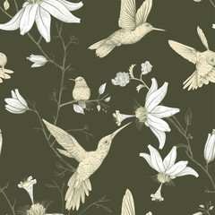 Vector sketch pattern with birds and flowers. Monochrome flower design for web, wrapping paper, phone cover, textile, fabric, postcard