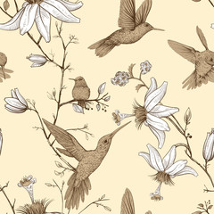 Fototapeta Vintage Vector sketch pattern with birds and flowers. Monochrome flower design for web, wrapping paper, phone cover, textile, fabric, postcard