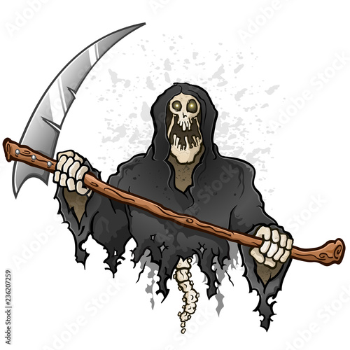 Photo Grim Reaper Cartoon Character Holding a Death Scythe