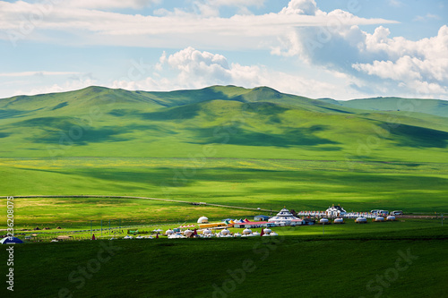 Mongolia yurts in the summer grassland of Hulunbuir, China