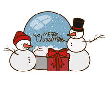 Snow Man In Crystal Ball With Gifts Isolated Icon