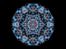 Blue  And Red Abstract Flame Mandala Snowflake, Ornamental Round Pattern On Black Background. Yoga Theme.