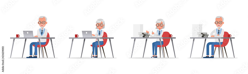 Fototapeta business people working and different poses action character vector design no30