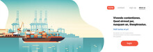Industrial Sea Port Cargo Logistics Container Import Export Freight Ship Crane Water Delivery Transportation Concept Shipping Dock Flat Horizontal Banner Copy Space Vector Illustration