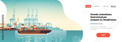 Valokuva  Industrial sea port cargo logistics container import export freight ship crane w