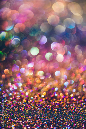 Photo  glitter gold bokeh Colorfull Blurred abstract background for birthday, anniversa