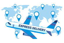 Express Delivery Airplane Transport World Map Geo Tag Background International Transportation Shipping Industrial Concept Location Flat Horizontal