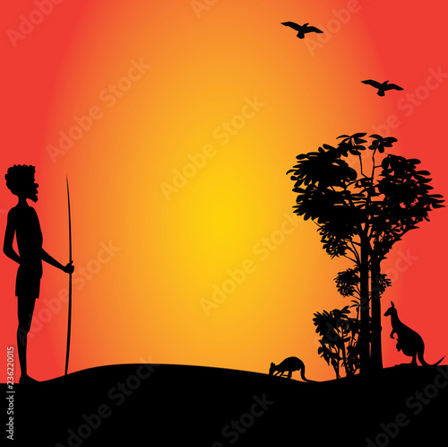Photo Australian aborigine man hunting kangaroos