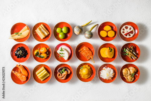 一般的なおせち料理 General Japanese New Year dishes(osechi)