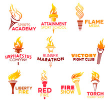 Red Flaming Fire Torch, Vector Icons