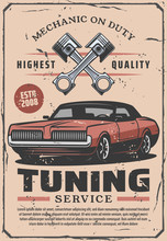 Car Diagnostic, Tuning Services, Vector Poster