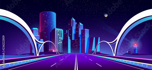 Fotografía Vector concept background with night city illuminated with neon glowing lights
