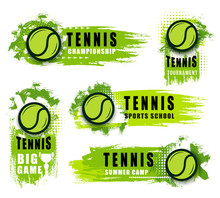 Big Tennis Game Icons With Bal...