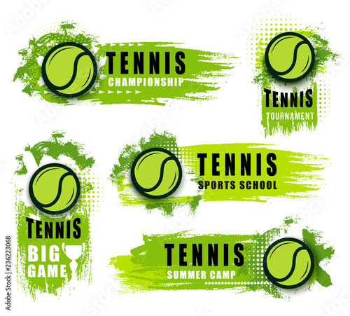 Fotografie, Obraz Big tennis game icons with ball and blobs