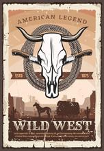 Wild West Retro Poster, Bull Skull And Knives