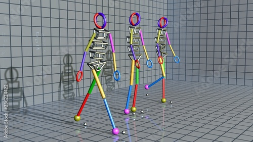 Foto Gait recognition , motion capture 3d render of character walking