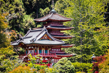 Pagodas Surrounded By Trees And Lush Vegetation, Japanese Tea Garden In Golden Gate Park, San Francisco, California