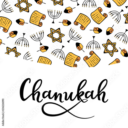 Fotomural Chanukah Design in doodle style