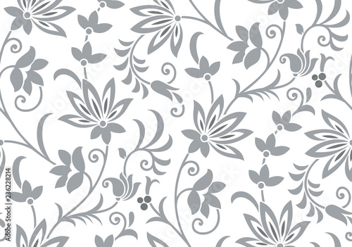 Seamless vintage silver flower pattern - 236228214