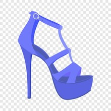 Blue Woman Sandal Icon. Flat Illustration Of Blue Woman Sandal Vector Icon For Web Design