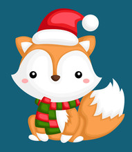 A Vector Of A Cute And Adorable Fox In Winter Clothes