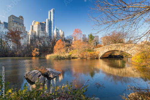 Deurstickers New York City The pond in Central park in New York City at autumn day, USA