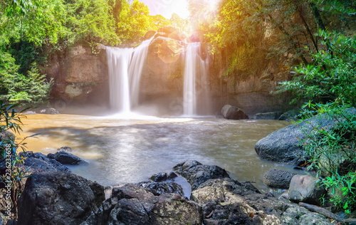 Waterfall with droplets of water throughout the area. Waterfall Haewsuwat Khao Yai in Thailand.