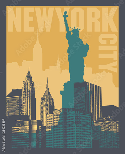 Fototapeta Manhattan, New York city, silhouette illustration obraz