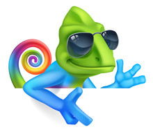 A Chameleon Cool Cartoon Lizar...