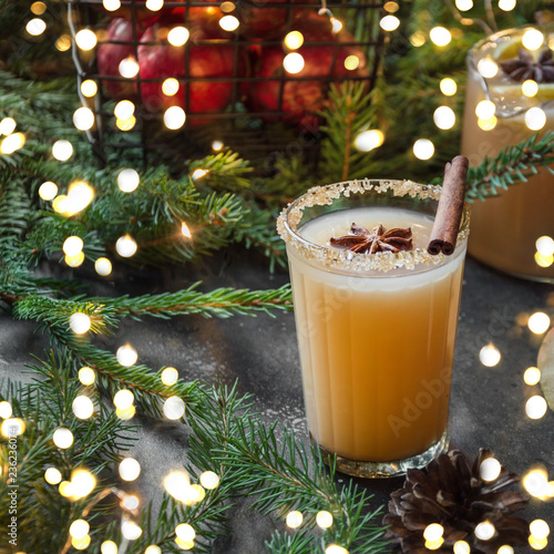 Staande foto Bier / Cider Apple cider cocktail with cardamom and star anise with fir tree branches. Christmas party.