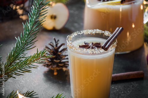Staande foto Bier / Cider Apple cider cocktail with cardamom and star anise on black table with fir tree branches.