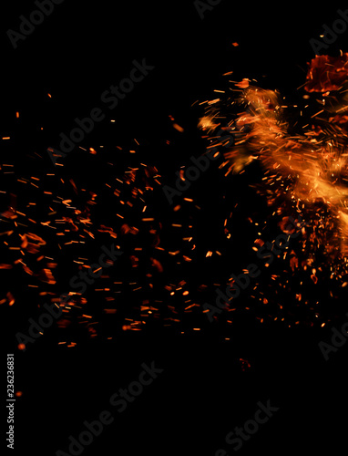 Feu, Flamme flame of fire with sparks on a black background