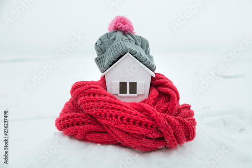 Cuadros en Lienzo house in winter - heating system concept and cold snowy weather with model of a
