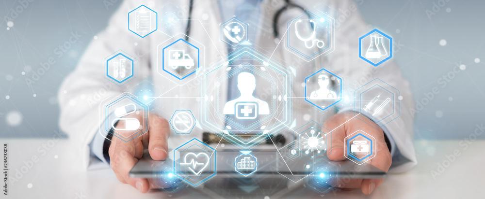 Fototapeta Doctor using digital medical futuristic interface 3D rendering