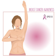 Vector Of A Woman Breast Cancer Checking Herself,awareness Woman Breast Cancer Concept