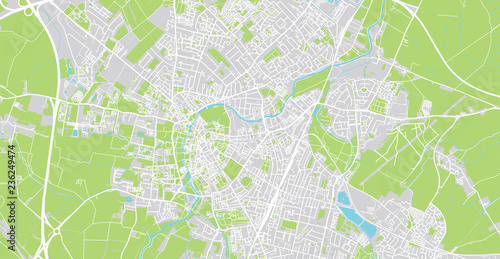 Photo Urban vector city map of Cambridge, England