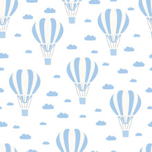 Hot Air Balloon With Cloud Seamless Pattern. Vintage Children Illustration. Cute Print And Wallpaper Vector Design.