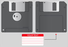 Vector Illustration Diskette Of 3.5 Inches Isolated On Gray Background. Realistic 3D Floppy Disk In Front And Back View With Text Label Sticker Template. Retro PC Device. Can Be Used For Icon, Logo.