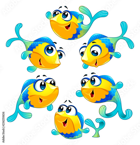 Photo sur Aluminium Chambre d enfant Group of funny and happy fish