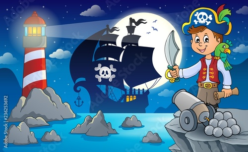 Fotobehang Voor kinderen Night pirate scenery 7