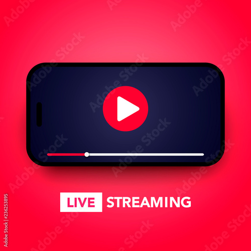 Vector illustration live stream concept with play button on smartphone screen fo Billede på lærred