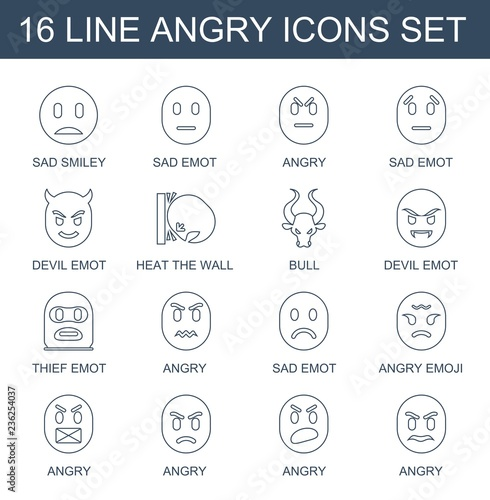 angry icons  Set of 16 line angry icons included sad smiley