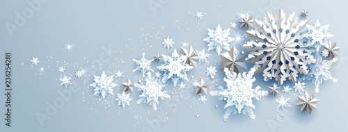 Fotobehang - Facebook Web Banner Social Media template. Shine winter decoration with snowflakes, stars and balls.