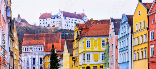 Beautiful places of Germany- Landshut town in Bavaria. View with traditional houses and Trausnitz castle