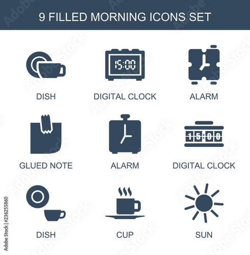 morning icons  Set of 9 filled morning icons included dish