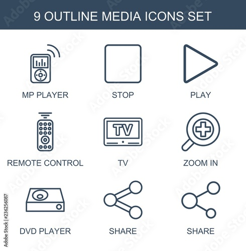 media icons  Set of 9 outline media icons included mp player