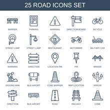 Road Icons. Set Of 25 Outline Road Icons Included Barrier, Parking, Warning, Direction Board, Bicycle, Street Lamp On White Background. Editable Road Icons For Web, Mobile And Infographics.