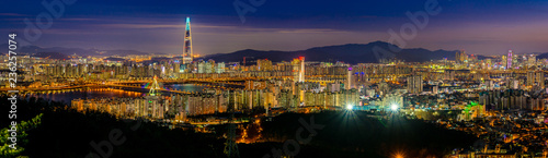 Panoramic night view of beautiful Seoul city viewed from the mountain Canvas Print